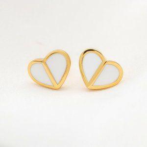 KATE SPADE Heritage Heart Stud Earrings White/Gold